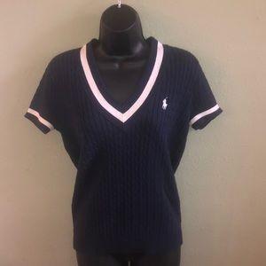 Ralph Lauren Sport cable knit shirt sleeve sweater